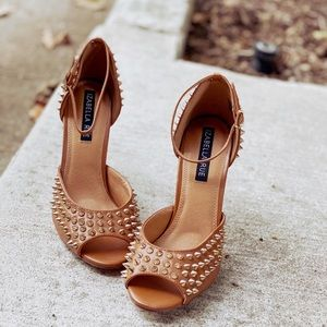 Spiked Camel Ankle Strap Peep Toe Heels